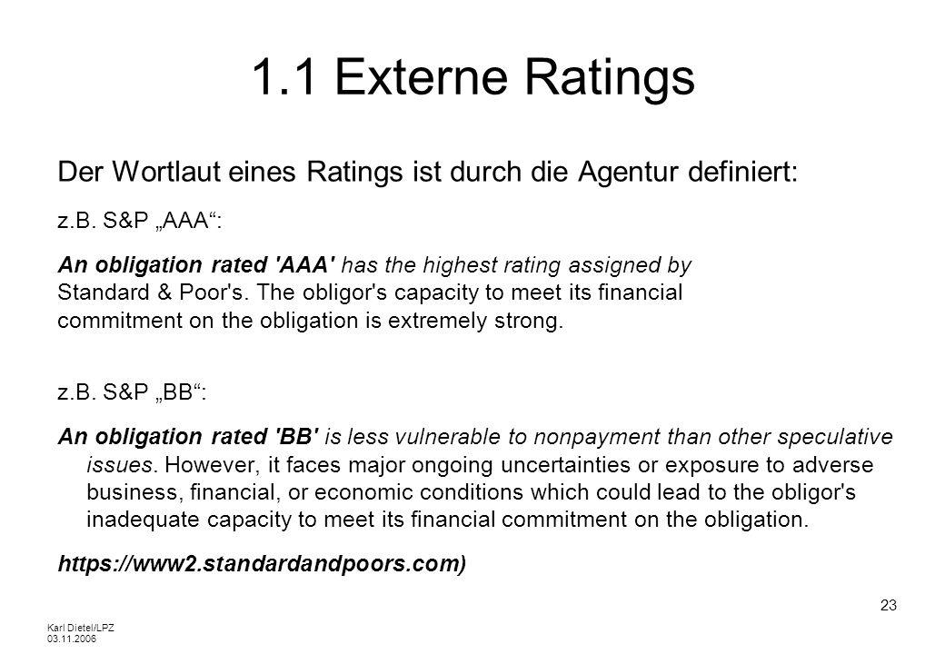 """1.1 Externe Ratings Der Wortlaut eines Ratings ist durch die Agentur definiert: z.B. S&P """"AAA :"""