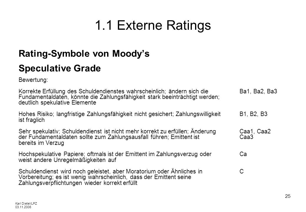 1.1 Externe Ratings Rating-Symbole von Moody's Speculative Grade