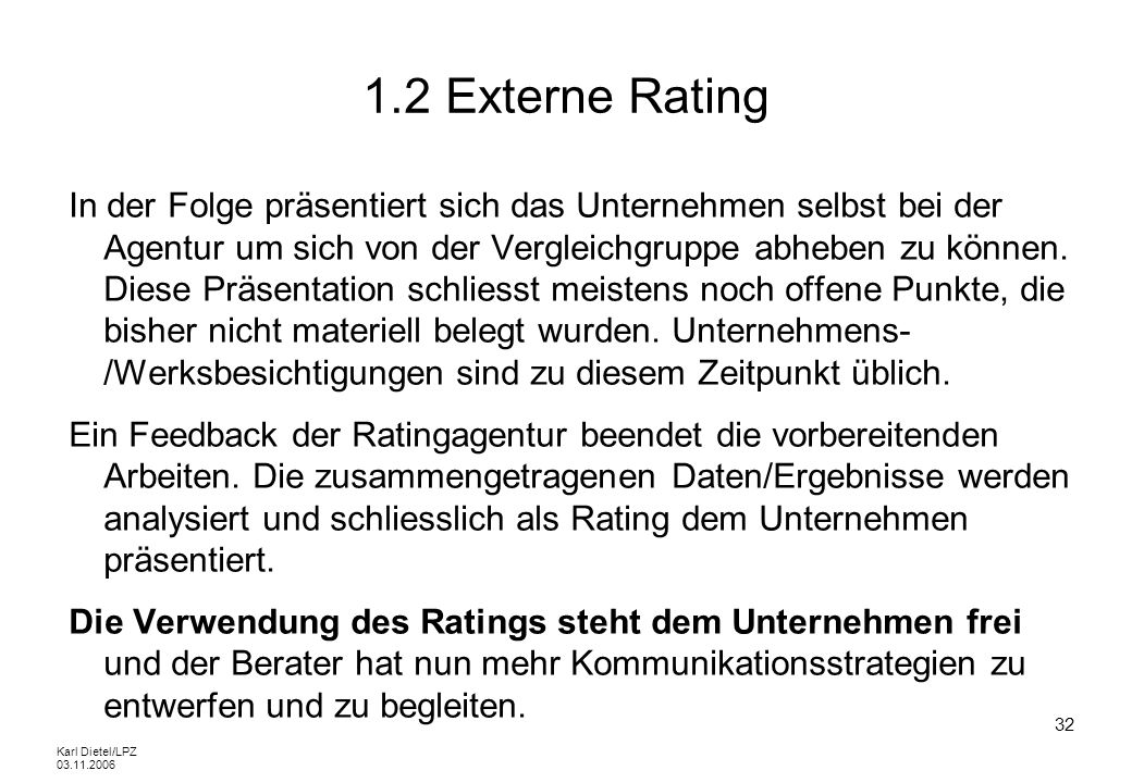 1.2 Externe Rating