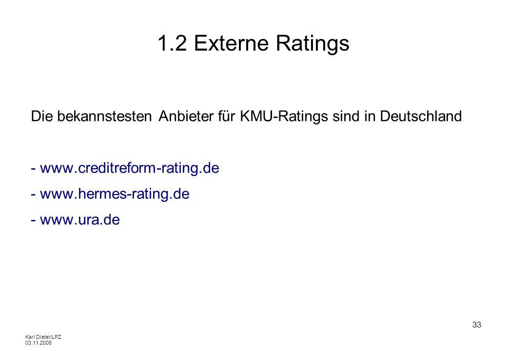 1.2 Externe RatingsDie bekannstesten Anbieter für KMU-Ratings sind in Deutschland. - www.creditreform-rating.de.
