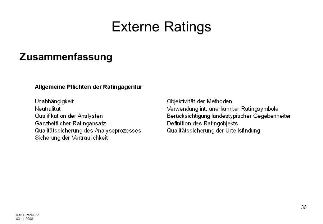 Externe Ratings Zusammenfassung Karl Dietel/LPZ 03.11.2006