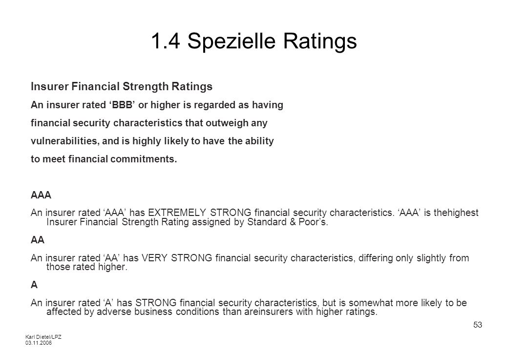 1.4 Spezielle Ratings Insurer Financial Strength Ratings