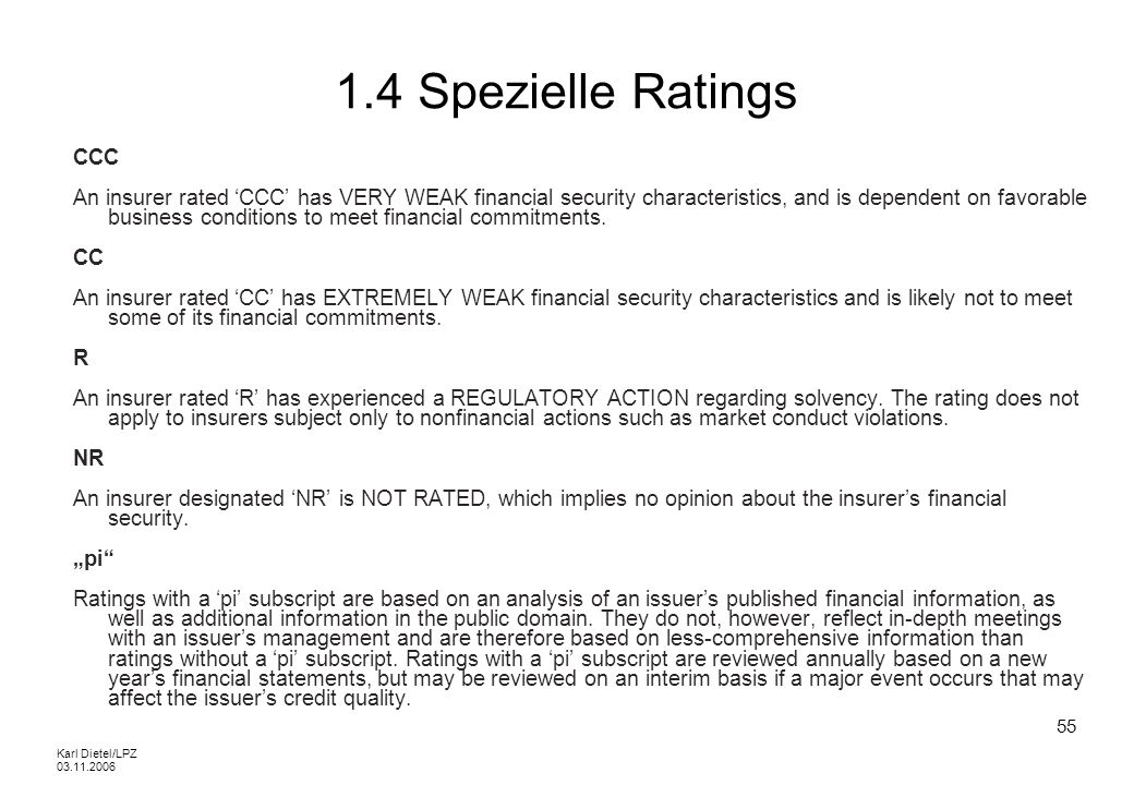 1.4 Spezielle RatingsCCC.