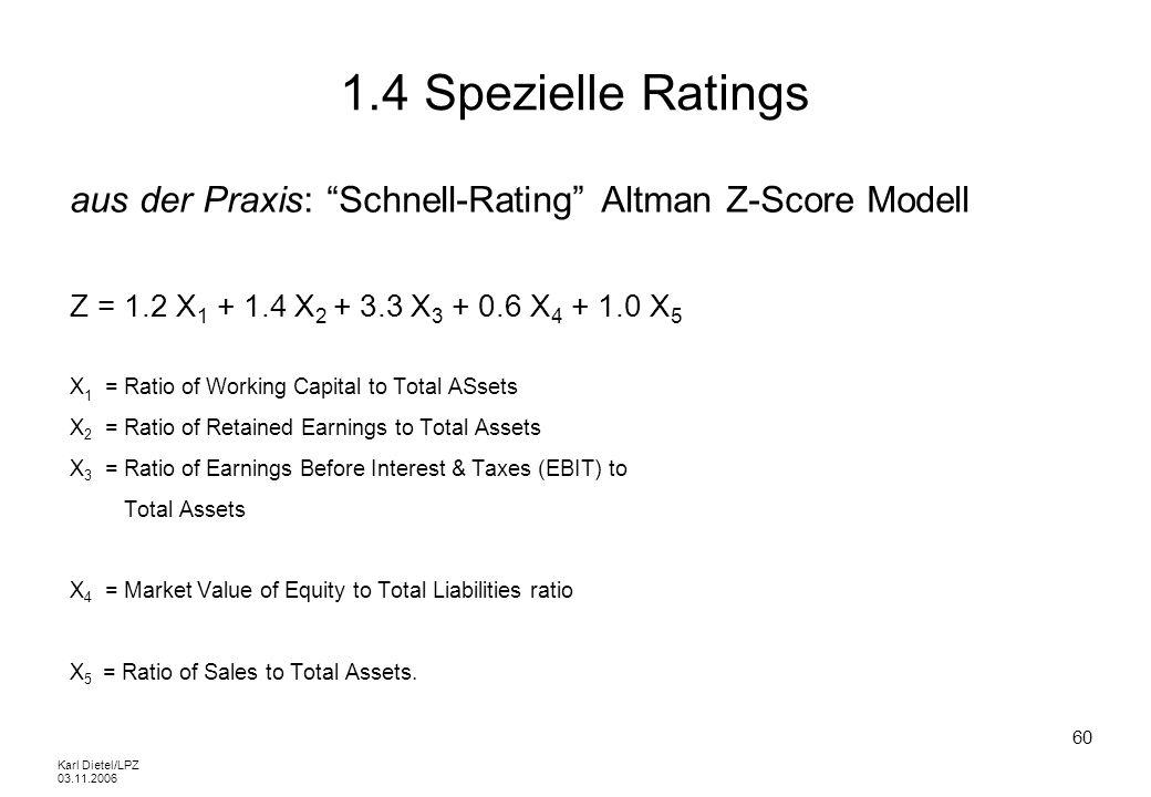 1.4 Spezielle Ratings aus der Praxis: Schnell-Rating Altman Z-Score Modell. Z = 1.2 X1 + 1.4 X2 + 3.3 X3 + 0.6 X4 + 1.0 X5.