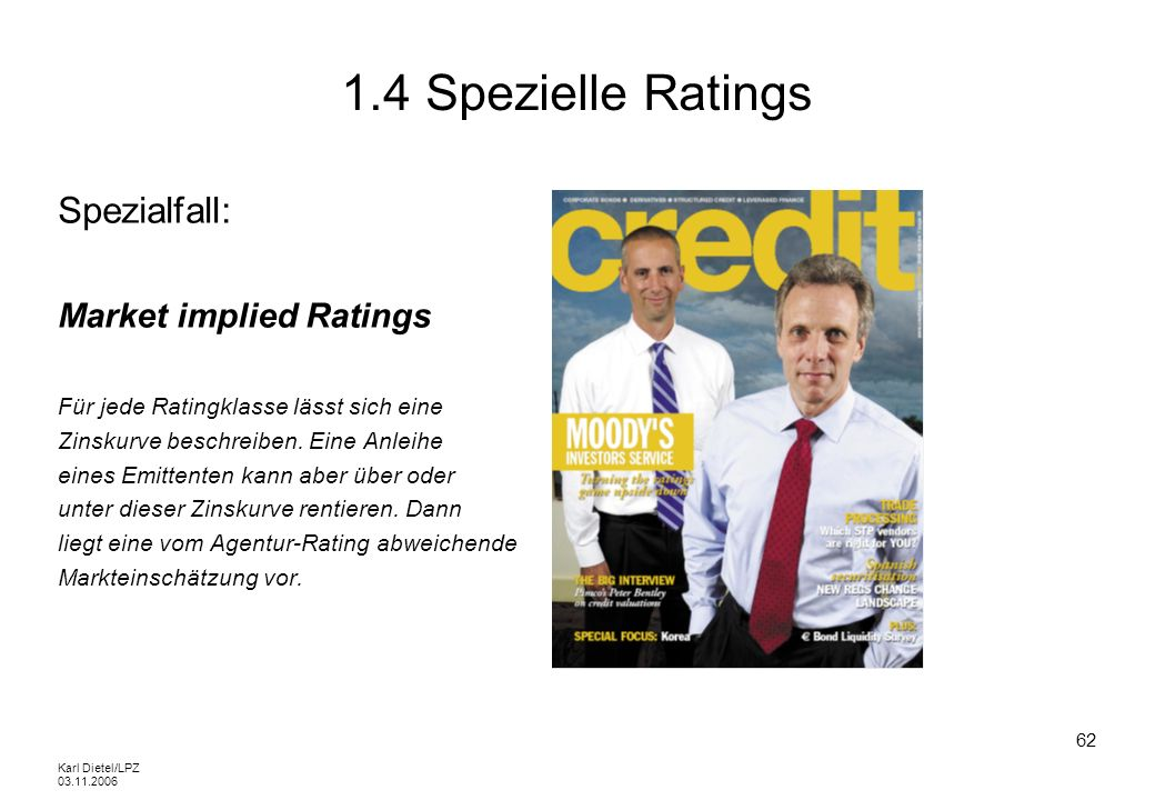 1.4 Spezielle Ratings Spezialfall: Market implied Ratings