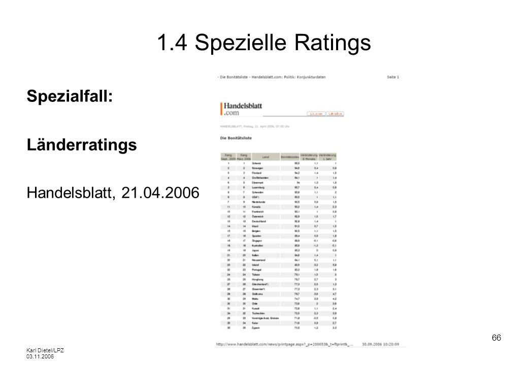 1.4 Spezielle Ratings Spezialfall: Länderratings