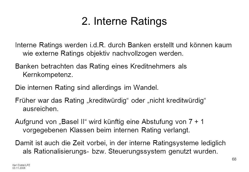 2. Interne RatingsInterne Ratings werden i.d.R. durch Banken erstellt und können kaum wie externe Ratings objektiv nachvollzogen werden.