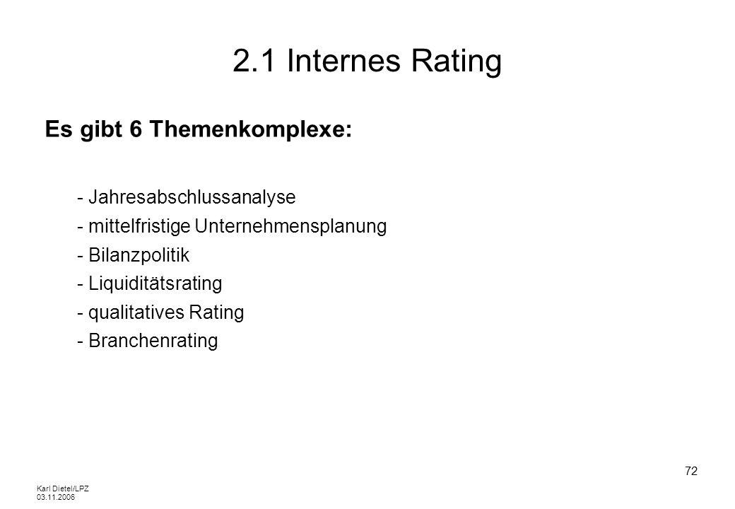 2.1 Internes Rating Es gibt 6 Themenkomplexe: - Jahresabschlussanalyse