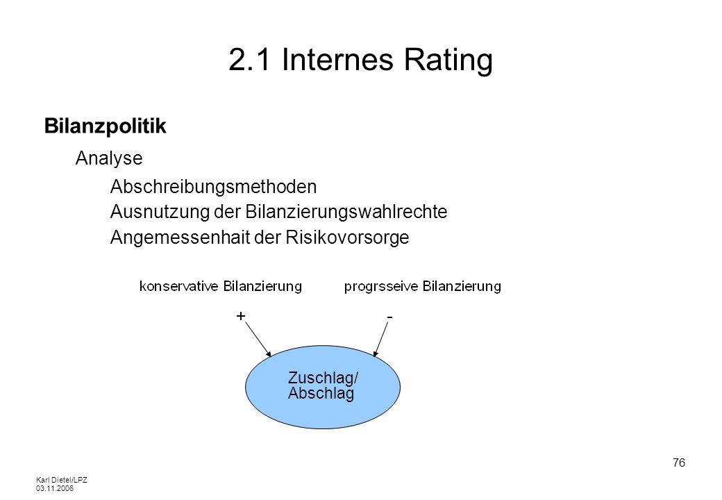 2.1 Internes Rating Bilanzpolitik Analyse Abschreibungsmethoden
