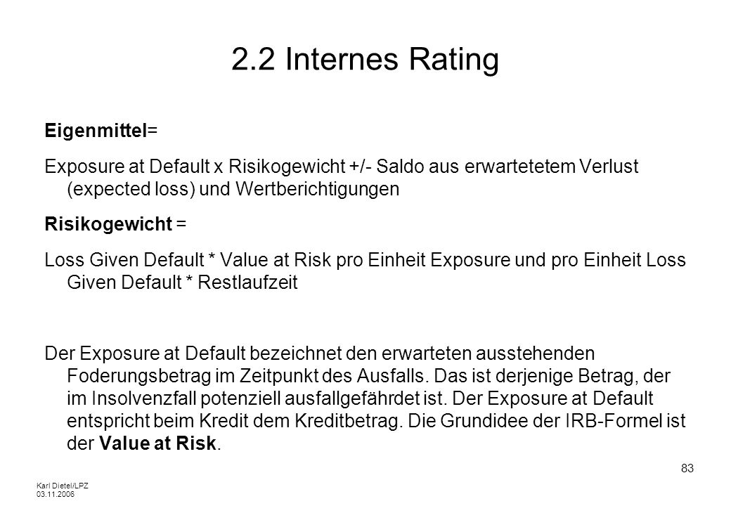 2.2 Internes Rating Eigenmittel=