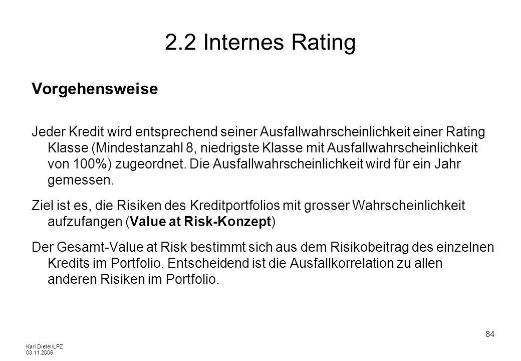 2.2 Internes Rating Vorgehensweise