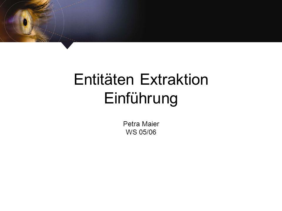 Entitäten Extraktion Einführung