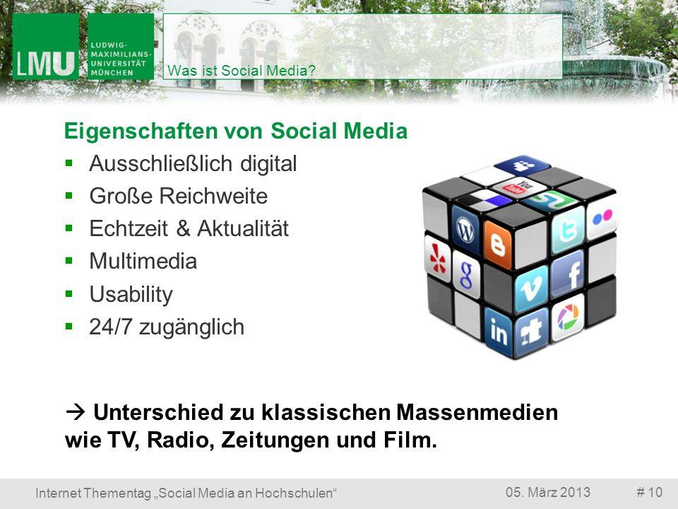 Eigenschaften von Social Media Ausschließlich digital Große Reichweite
