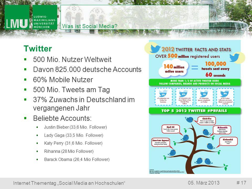 Twitter 500 Mio. Nutzer Weltweit Davon 825.000 deutsche Accounts