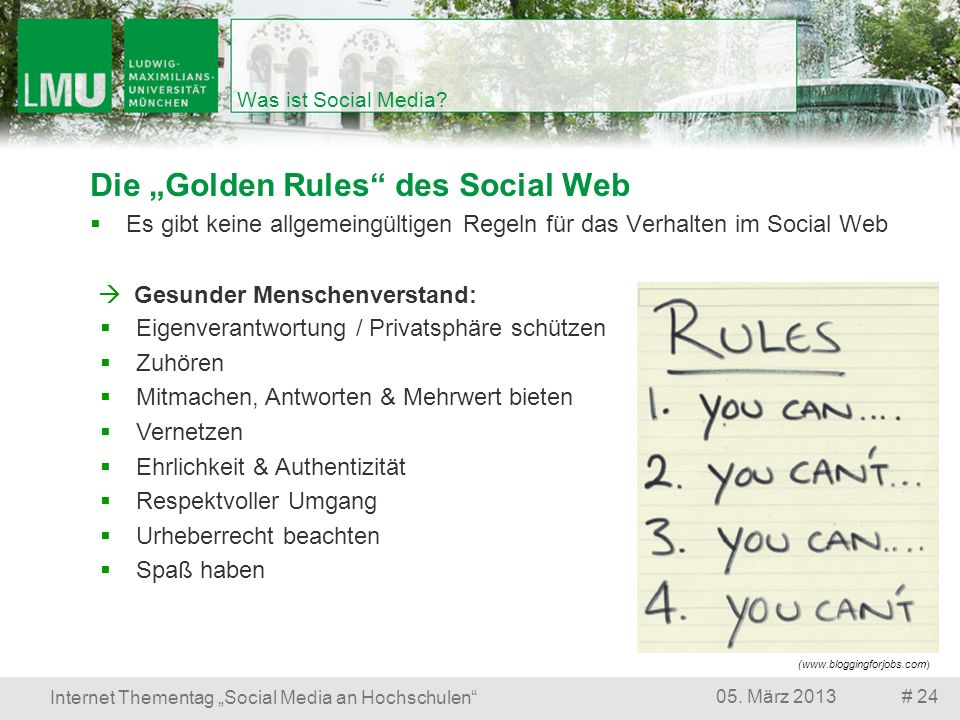 "Die ""Golden Rules des Social Web"
