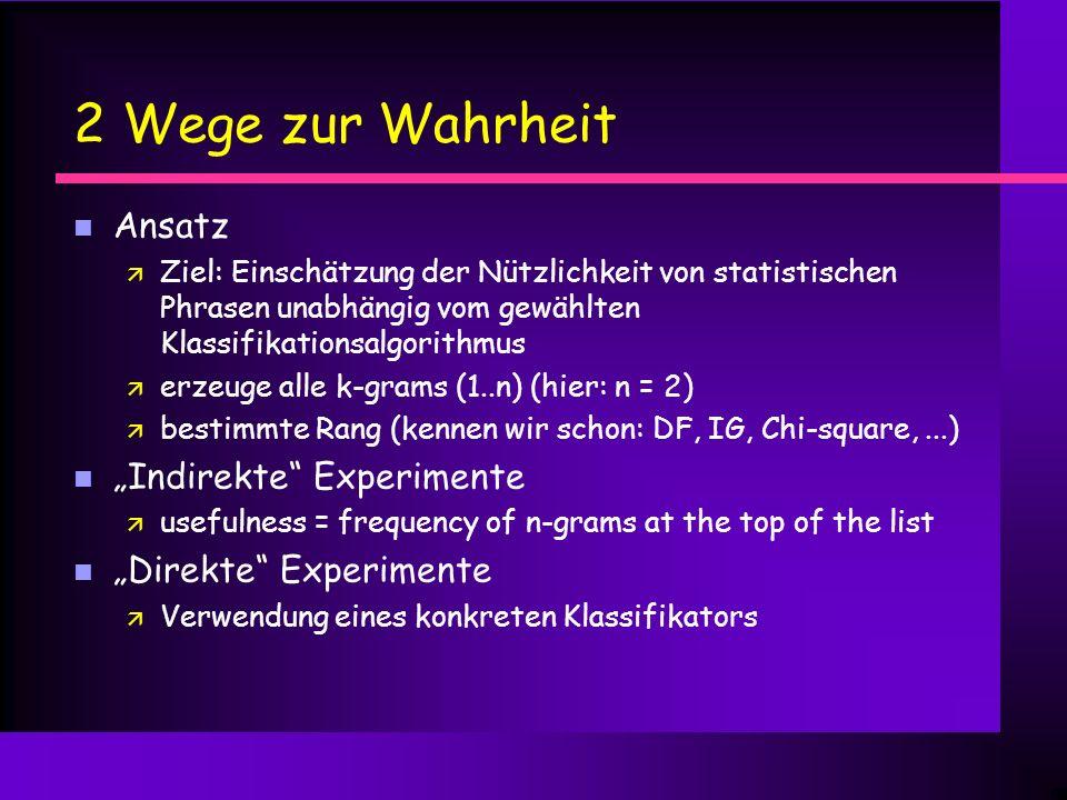 """2 Wege zur Wahrheit Ansatz """"Indirekte Experimente"""