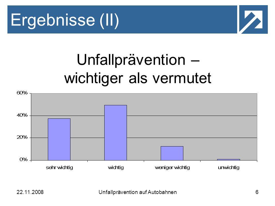 Ergebnisse (II) Unfallprävention – wichtiger als vermutet 22.11.2008