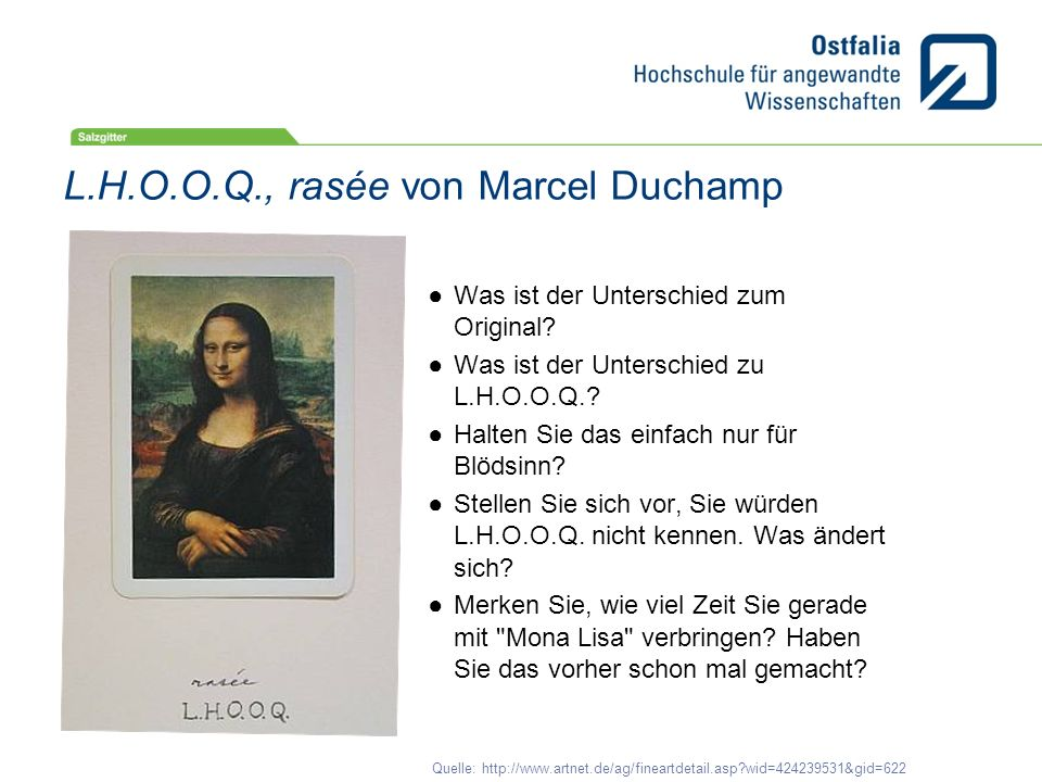 L.H.O.O.Q., rasée von Marcel Duchamp