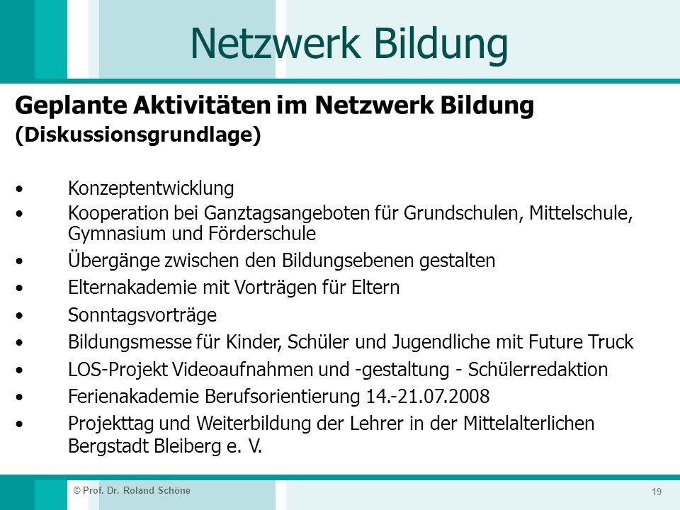 Netzwerk Bildung Geplante Aktivitäten im Netzwerk Bildung