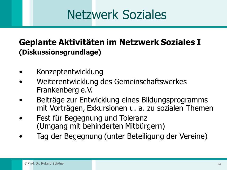 Netzwerk Soziales Geplante Aktivitäten im Netzwerk Soziales I