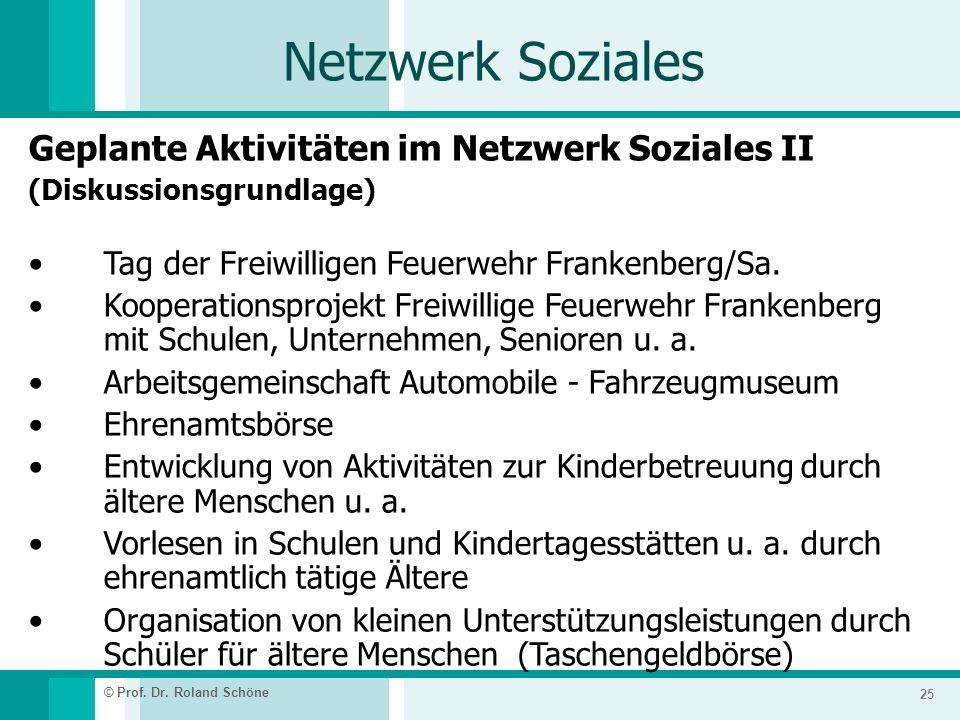 Netzwerk Soziales Geplante Aktivitäten im Netzwerk Soziales II