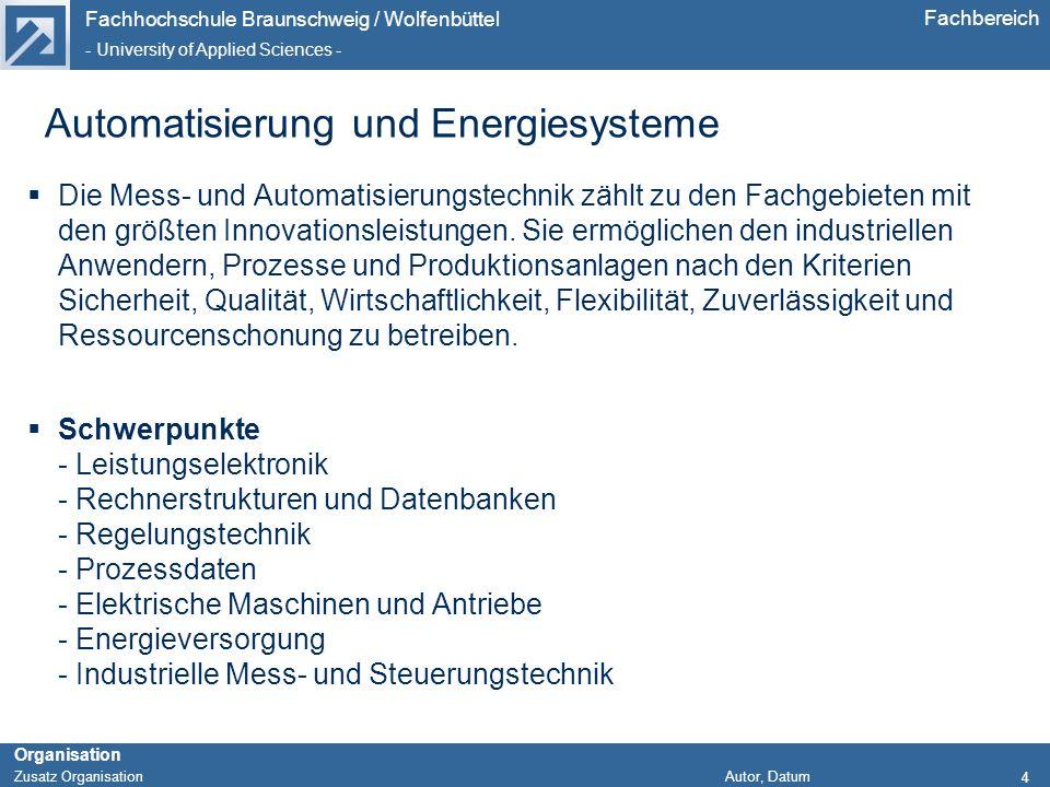 Automatisierung und Energiesysteme
