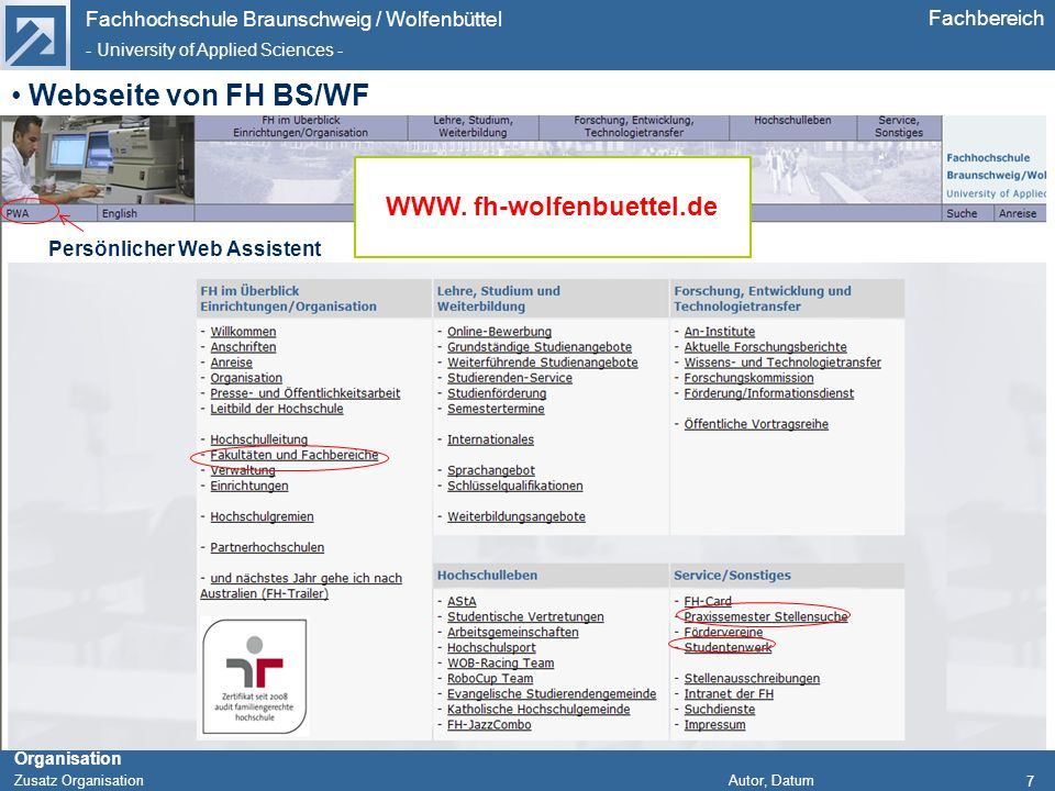 WWW. fh-wolfenbuettel.de Persönlicher Web Assistent