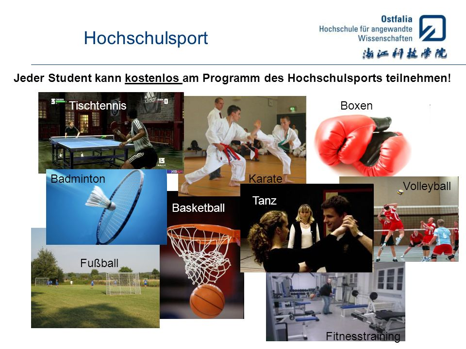 Hochschulsport Jeder Student kann kostenlos am Programm des Hochschulsports teilnehmen! Tischtennis.