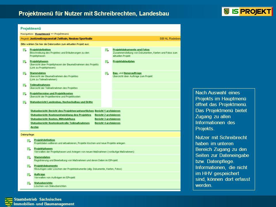 Projektmenü für Nutzer mit Schreibrechten, Landesbau