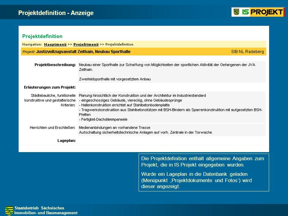 Projektdefinition - Anzeige