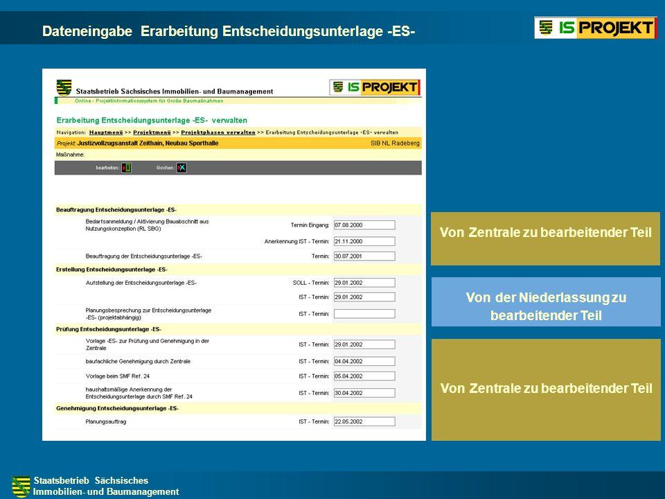 Dateneingabe Erarbeitung Entscheidungsunterlage -ES-