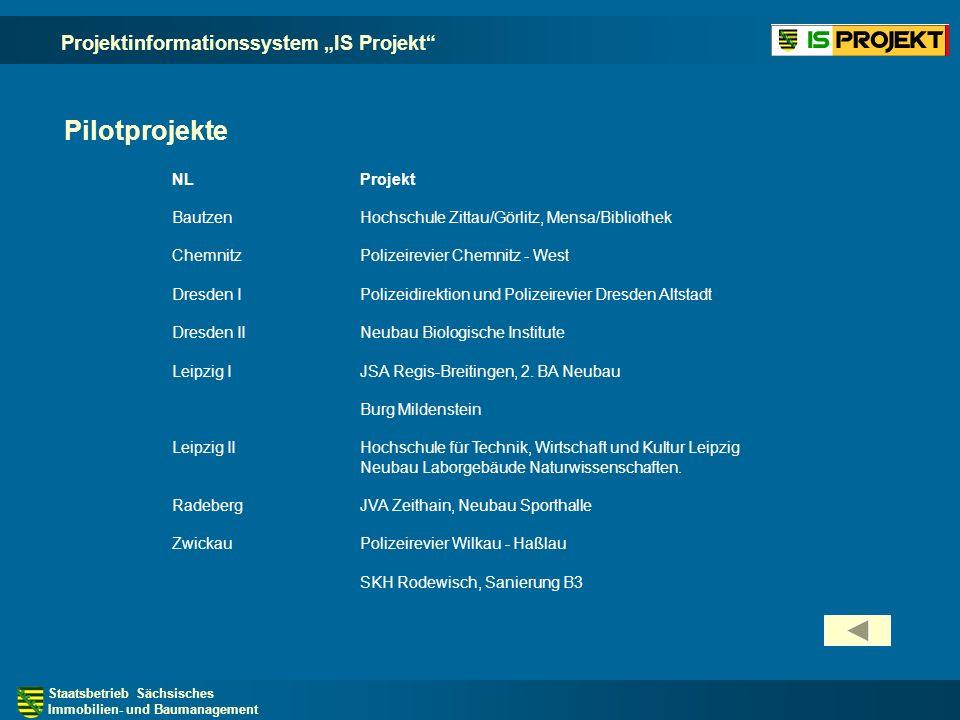 "Pilotprojekte Projektinformationssystem ""IS Projekt NL Projekt"