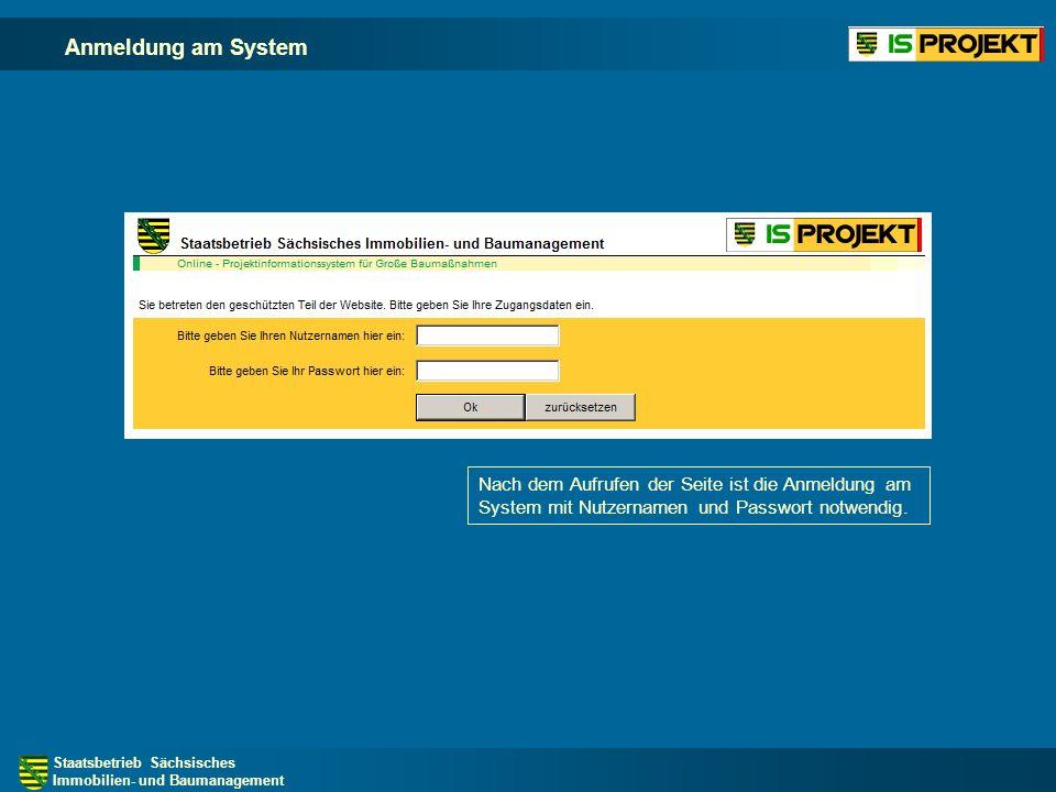 Anmeldung am System Nach dem Aufrufen der Seite ist die Anmeldung am System mit Nutzernamen und Passwort notwendig.