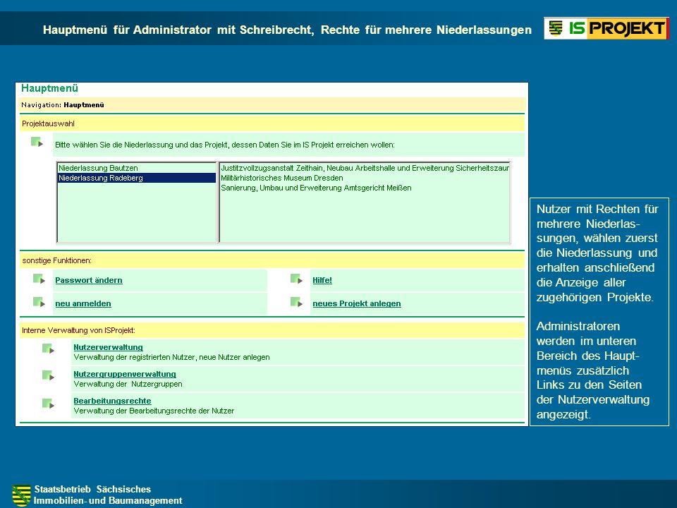 Hauptmenü für Administrator mit Schreibrecht, Rechte für mehrere Niederlassungen