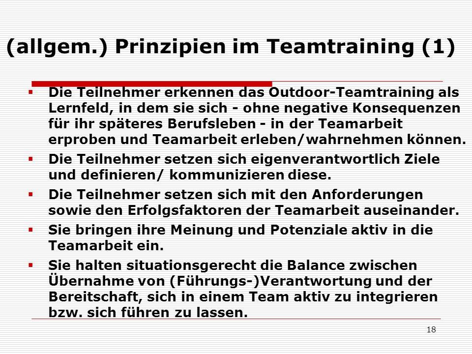 (allgem.) Prinzipien im Teamtraining (1)