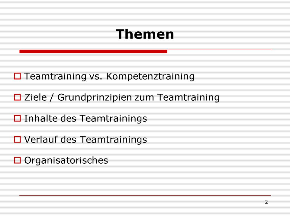 Themen Teamtraining vs. Kompetenztraining