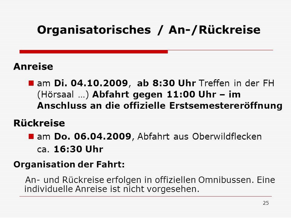 Organisatorisches / An-/Rückreise