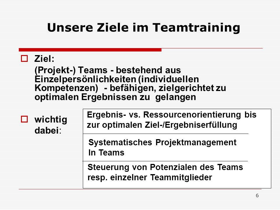 Unsere Ziele im Teamtraining