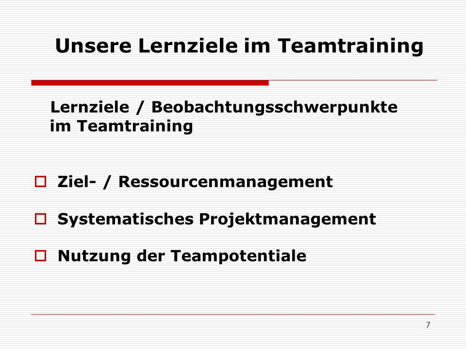 Unsere Lernziele im Teamtraining
