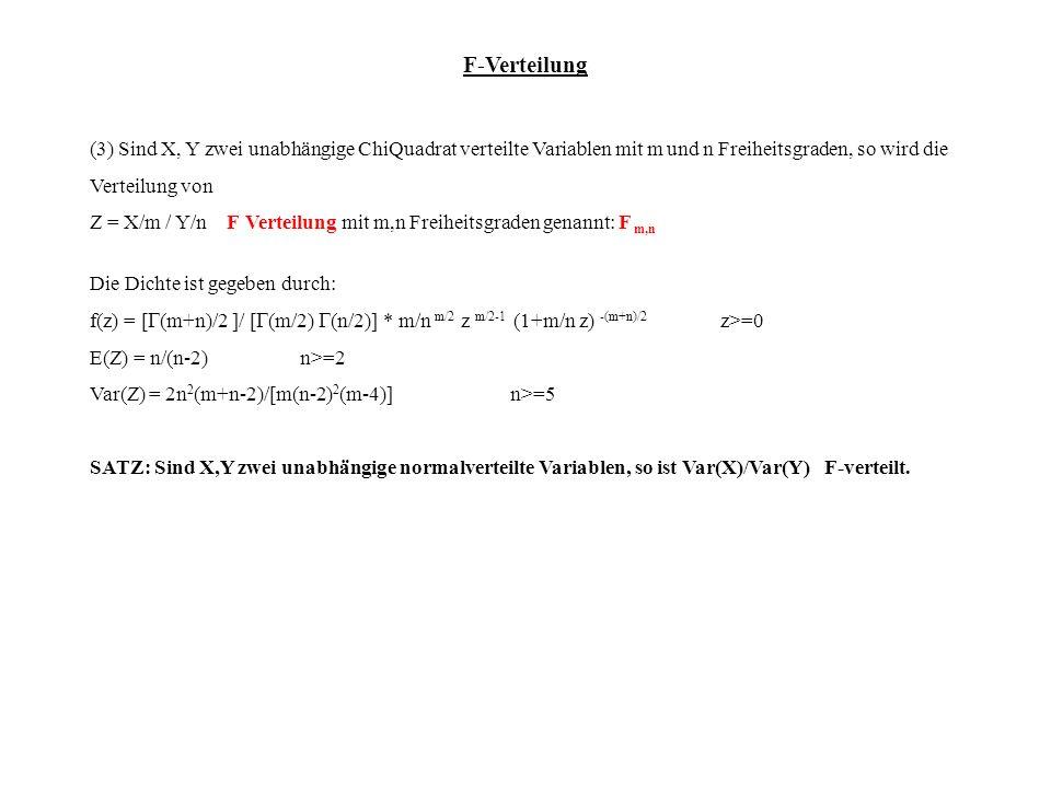 F-Verteilung (3) Sind X, Y zwei unabhängige ChiQuadrat verteilte Variablen mit m und n Freiheitsgraden, so wird die Verteilung von.