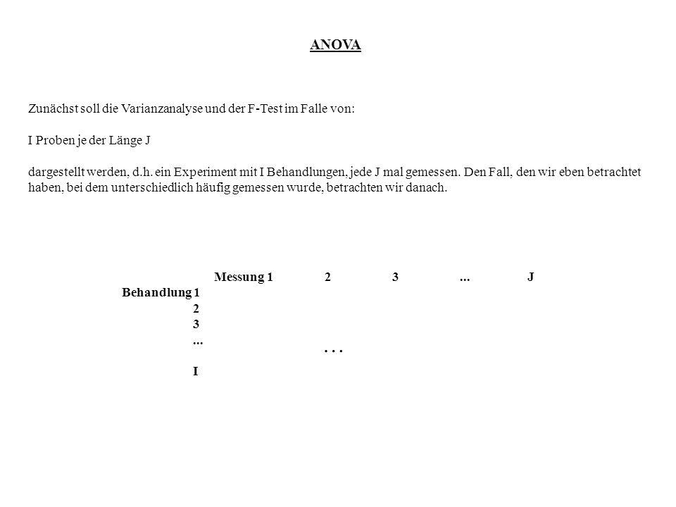 … ANOVA Zunächst soll die Varianzanalyse und der F-Test im Falle von: