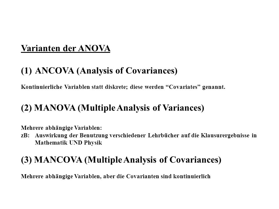 ANCOVA (Analysis of Covariances)