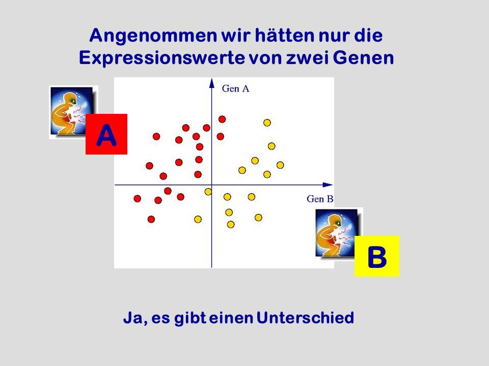 Angenommen wir hätten nur die Expressionswerte von zwei Genen