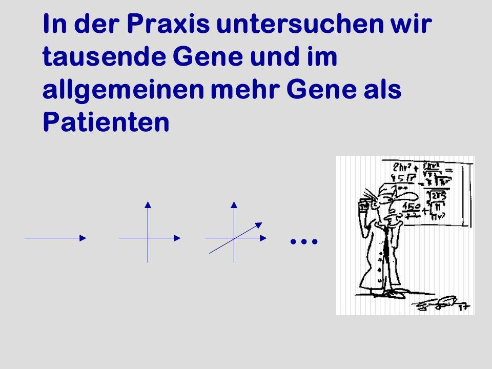 In der Praxis untersuchen wir tausende Gene und im allgemeinen mehr Gene als Patienten