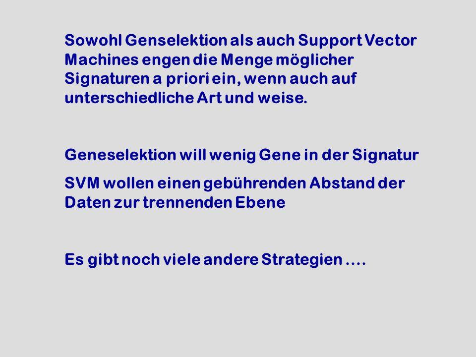 Sowohl Genselektion als auch Support Vector Machines engen die Menge möglicher Signaturen a priori ein, wenn auch auf unterschiedliche Art und weise.