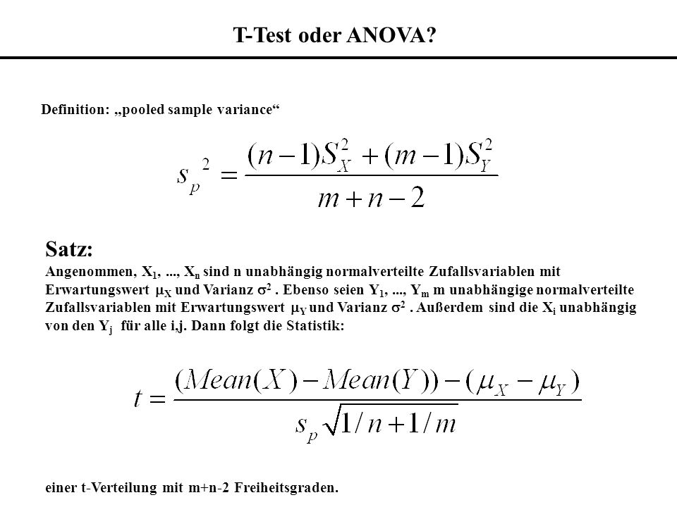 "T-Test oder ANOVA Satz: Definition: ""pooled sample variance"