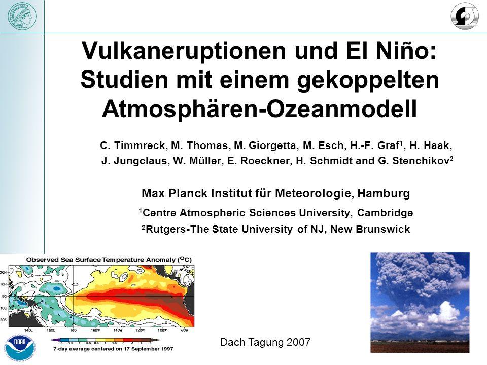 Vulkaneruptionen und El Niño: Studien mit einem gekoppelten Atmosphären-Ozeanmodell