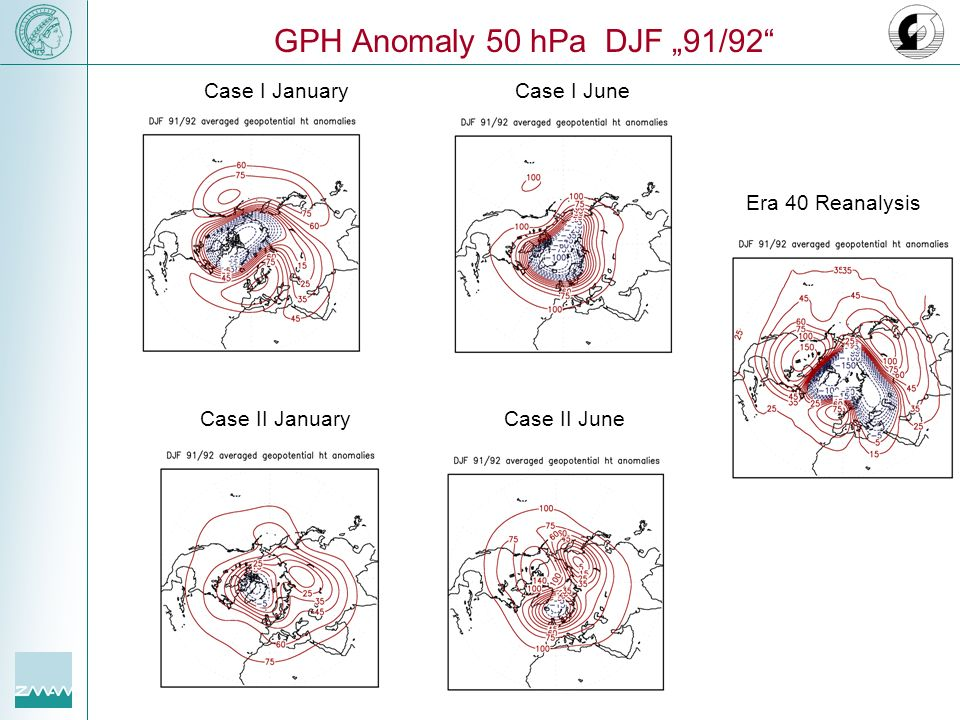 "GPH Anomaly 50 hPa DJF ""91/92 Case I January Case I June"