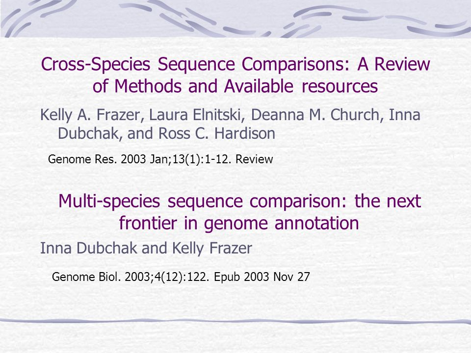 Cross-Species Sequence Comparisons: A Review of Methods and Available resources