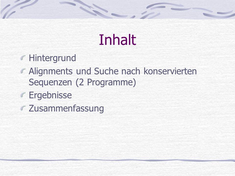 Inhalt Hintergrund. Alignments und Suche nach konservierten Sequenzen (2 Programme) Ergebnisse.